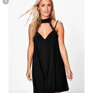 BOOHOO Romantic Black w/ Lace Swing Dress
